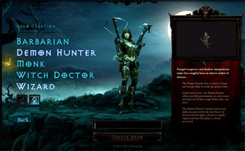 Diablo 3 Character Creation Screen